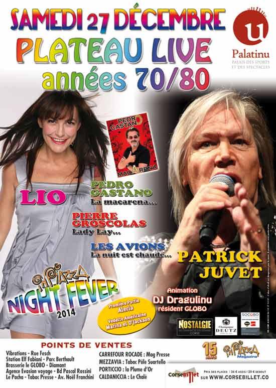 Inpiazza Night Fever Plateau Live années 70/80 du samedi 27 décembre 2014