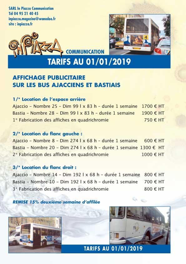 Tarifs affichage publicité Inpiazza sur les bus Ajacciens et Bastiais